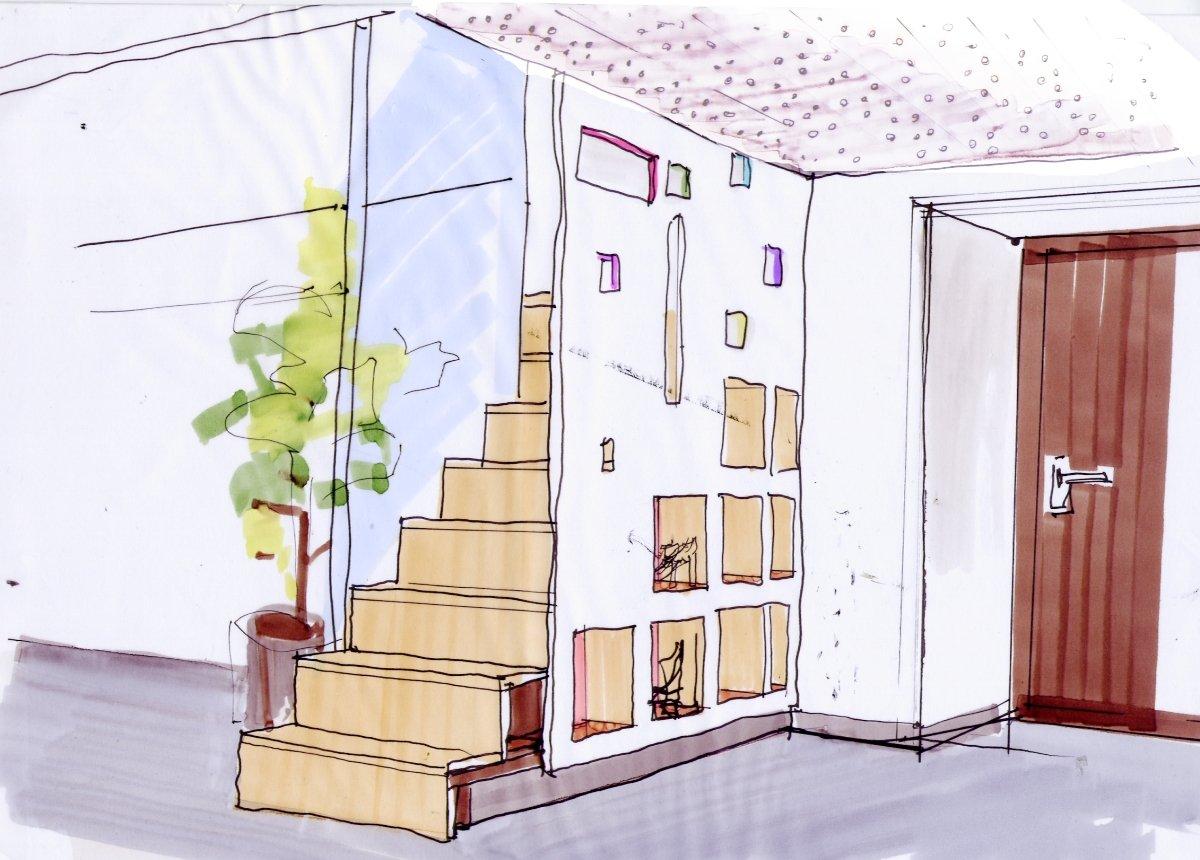 Un escalier- rangement sur mesure