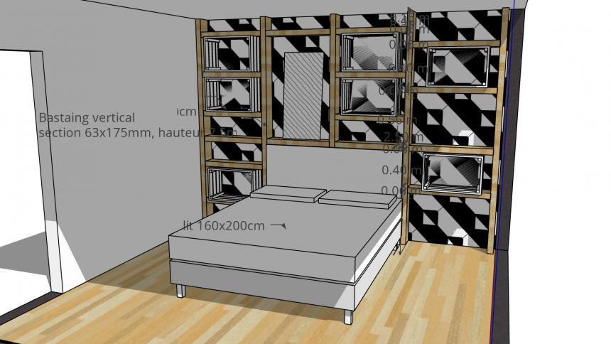 papier peint motif geometrique noir et blanc chambre
