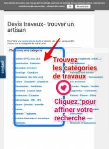 devis travaux en ligne liste categories