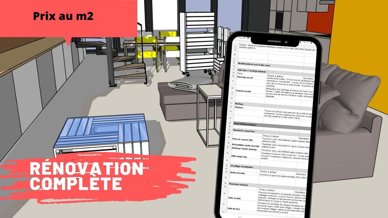 prix m2 renovation complete