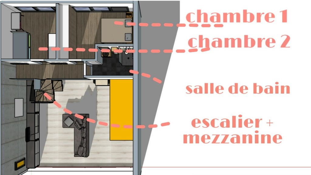 plan étage amenage ment de loft