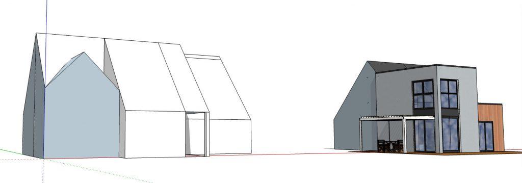 avant après extension maison à étage en ossature bois