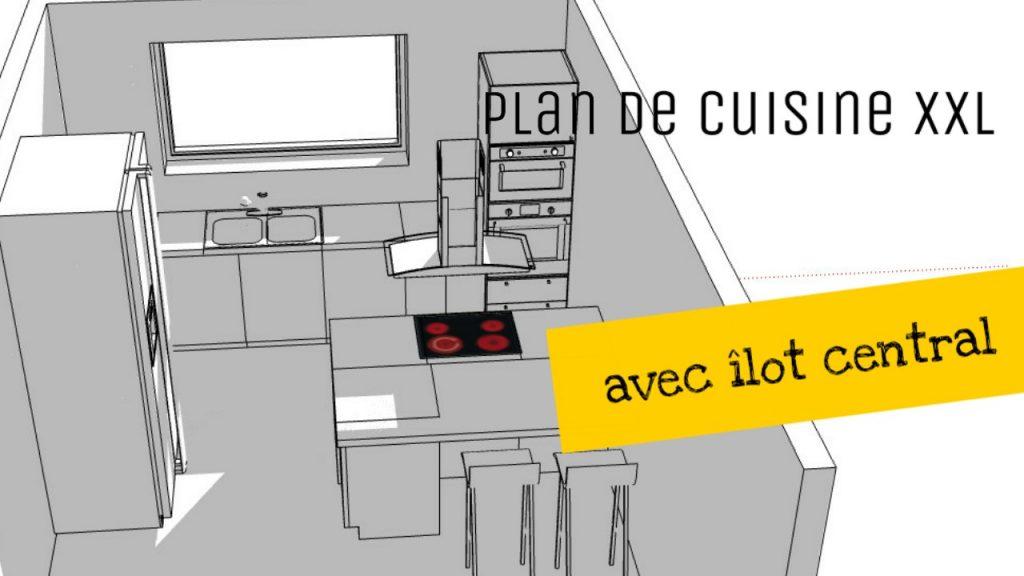plan de cuisine avec ilot central