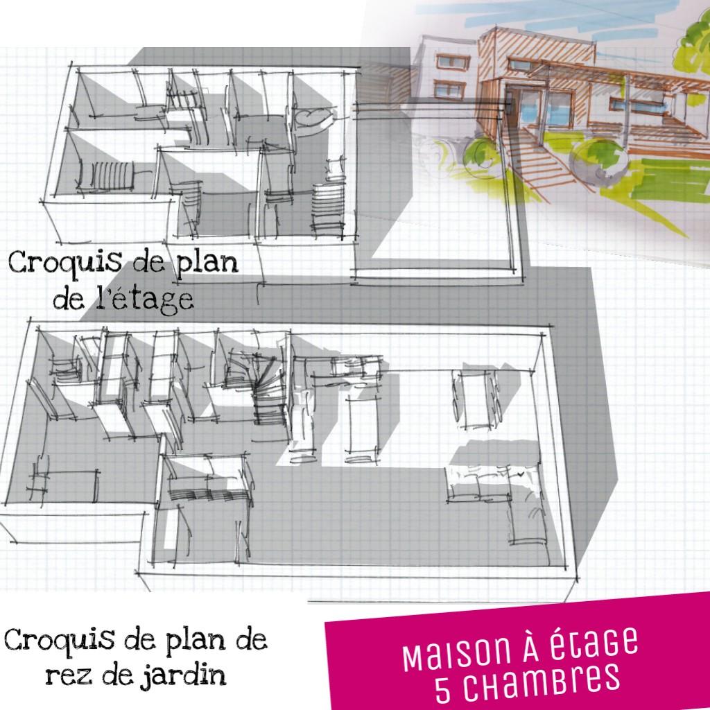 plan maison en bois Rhône Alpes 5 chambres etage