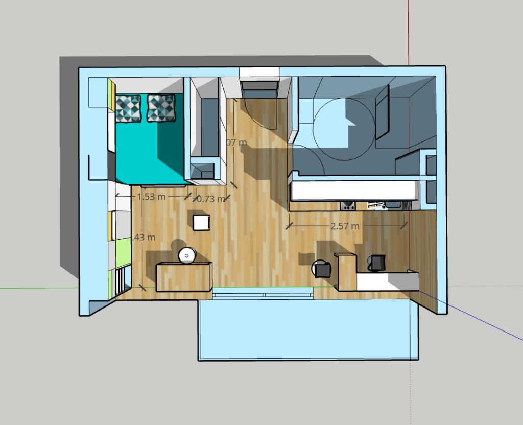 aménagement studio 30m2 plan