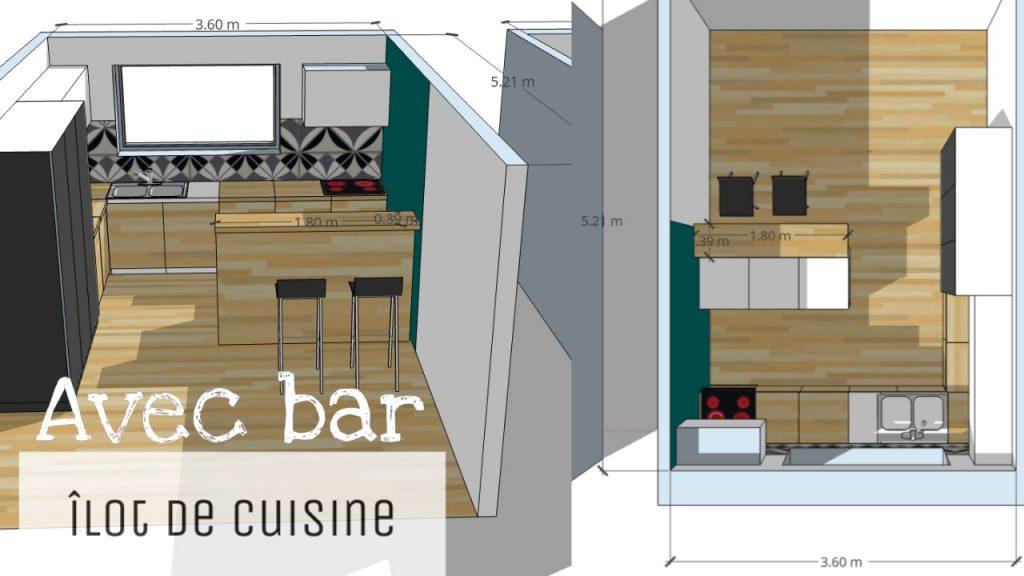 ilot de cuisine avec bar