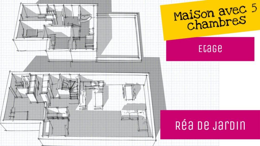 plan en longueur 5 chambres