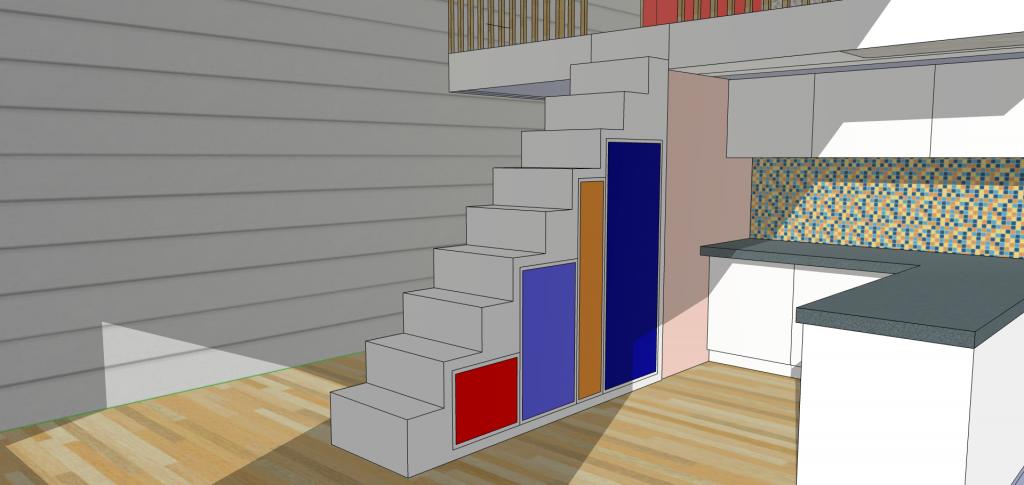 escalier rangement studio avec mezzanine