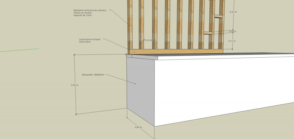 dessin claustrade bois aménagement appartement