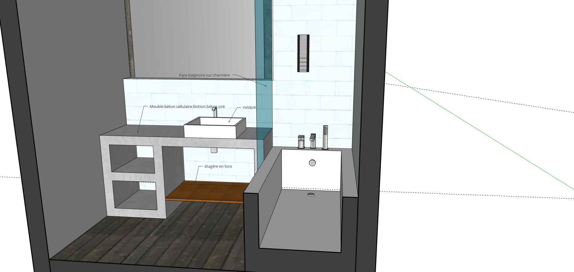 meuble béton cellulaire salle de bain