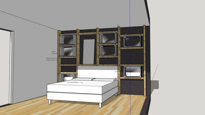 tete de lit bois brut