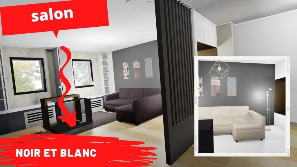 salon noir et blanc design moderne