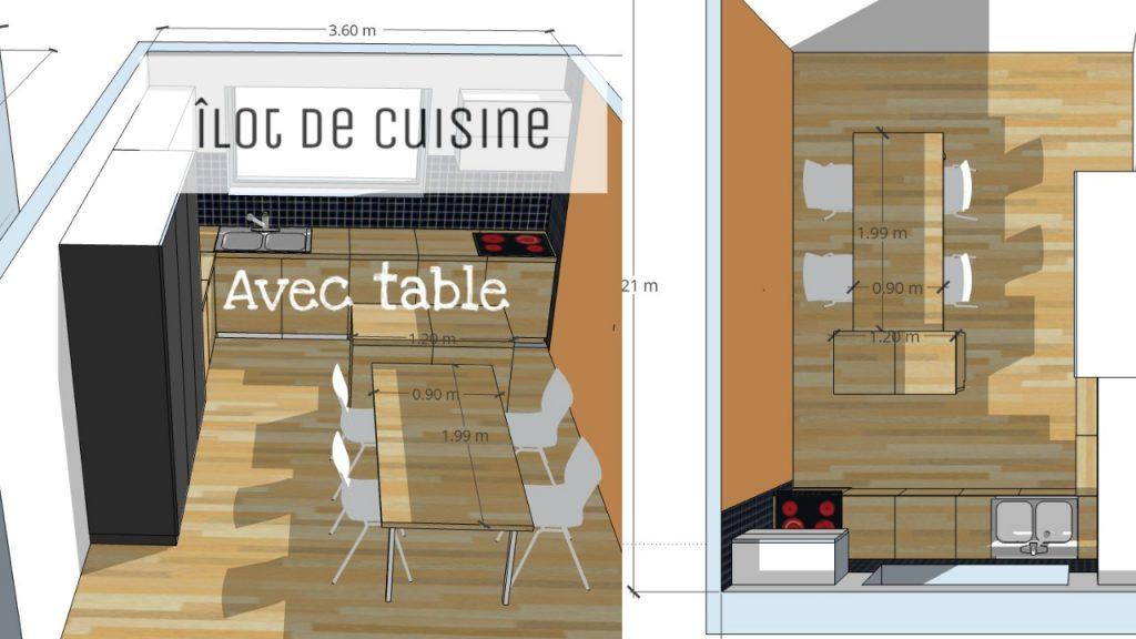 Moderne Îlot central de cuisine avec bar et/ou table KI-61